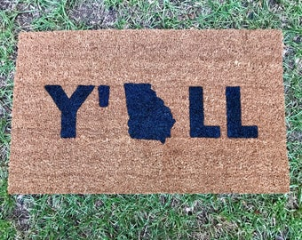 Y'All doormat with custom state.