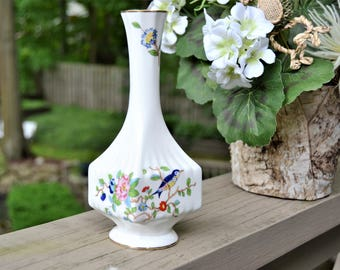 PORCELAIN Bud Vase White with Blue Bird and Flowers AYNSLEY Bone China Made in England