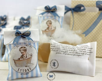 10 Personalized Favors-Bag 8.5 x 13 cm for birth and baptism