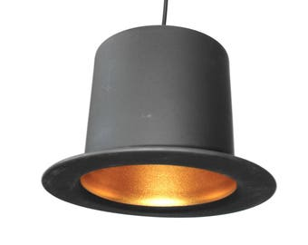 Black TOP Hat Hanging Pendant Light Fixture Roaring 20's Style w Gold Interior