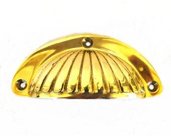 Ribbed Round Shell Shape Bin Pull Solid Brass Vintage Replica Old Hardware