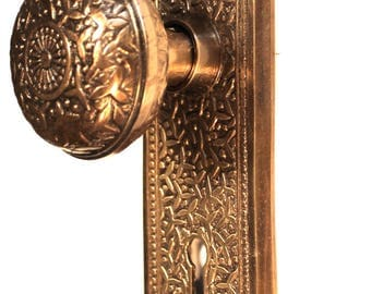 Door Passage Set Rice Pattern Aged Bronze Hardware for Restoration