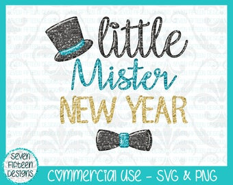 Little Mister New Year - Top Hat and Bow Tie SVG & PNG Design - Commercial Use OK