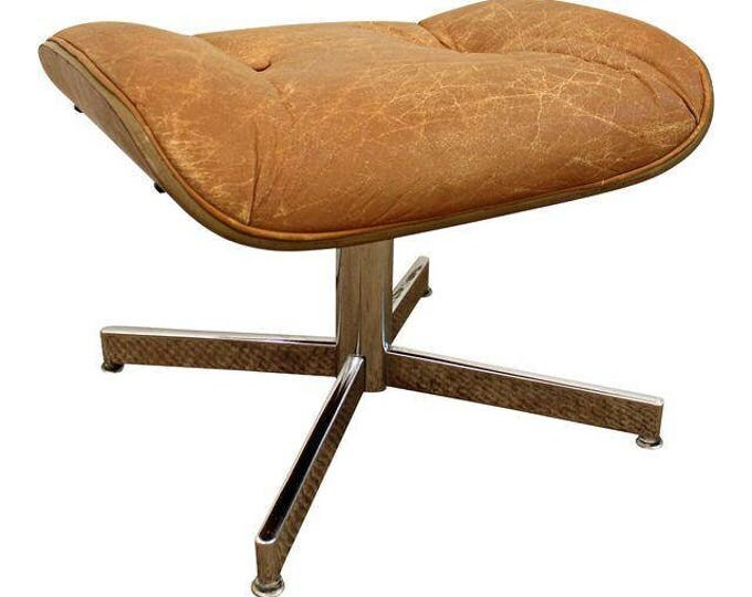 Mid-Century Danish Modern Chrome/Leather Walnut Selig Eames Ottoman/Footstool
