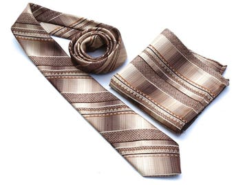 "Matching Tie and Pocket Square,Don Loper Vintage Tie and Pocket Square,70s Brown and Beige Necktie,Striped Polyester Tie,Retro 3"" Slim Tie,"