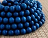 12mm Cobalt Blue Round Wood Beads - Dyed and Waxed - 15 inch strand
