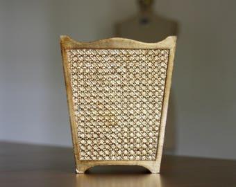 Vintage Gold Cane Trash Can / Gold Trash Can / Cane Trash Can / Cane Waste Basket / Gold Cane Decor / Formal Waste Basket