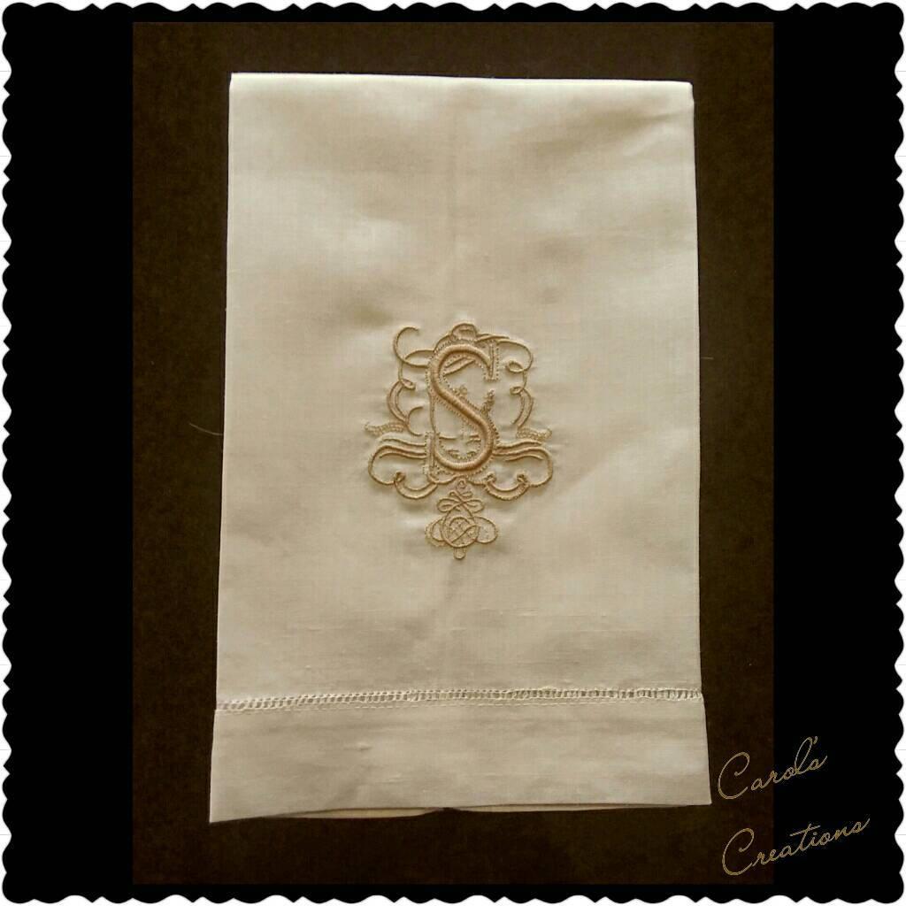 Linen Hand Towels Monogram,Scrolling Monogrammed Single Letter Linen Towel,scrolling  Letter,monogram Hand Towel,bathroom Towel,kitchen Towel