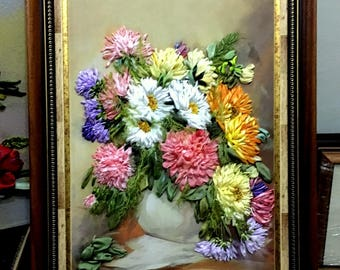 Summer bouquet Embroidered picture Silk ribbon embroidery picture The vase with the flowers 3D effect Picture 3d