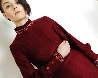 apple button 60s mod mini dress