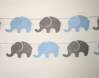 Elephant Banner, Garland, Photo Prop, Party Decor, Light Blue, Gray, Baby Shower