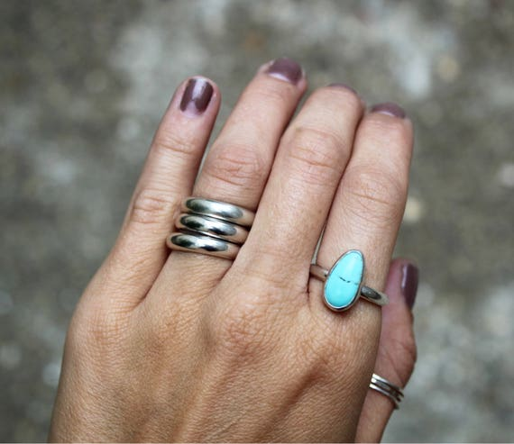 American Blue Turquoise Simple Ring