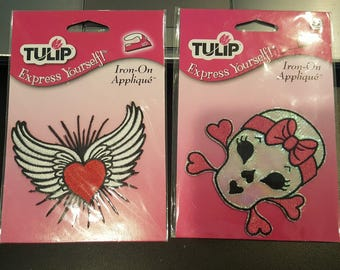 Appliques Girly Skull and Wings with Heart