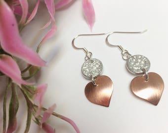Tinymoon & copper heart earrings