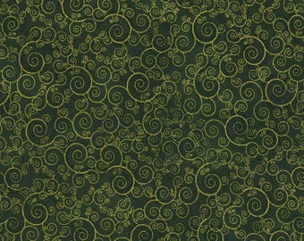 Metallic Gold Scroll, Green, Holiday, Timeless Treasures, CM4988-Green (By YARD)~