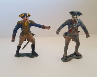 Vintage pair of American Revolutionary War lead toy soldiers, chippy paint, unmarked casting, probably 1960's
