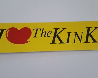 """Vintage Rock and Roll bumper sticker The Kinks, I (heart) The Kinks, 1970's original sticker not a reproduction measures 10"""" x 2 7/8"""""""