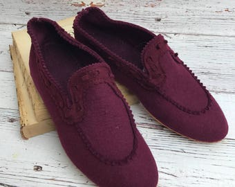 1940s Shoes, Wool Slippers, Ladies Slippers, 1940s Slippers, Vintage Bedroom Shoes, 1930s Shoes, Vintage Wool, Hollywood Glam, Slippers