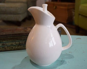 "Ceramic Pitcher With Lid-7.75"" Tall-Simple Clean Lines"