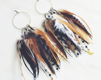 Rooster Feather Hoop Earrings