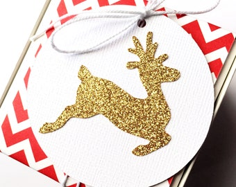 Gold Reindeer Christmas Gift Tags. Gold glitter and white. Xmas gift wrapping. Swing tags, wishing tree tag, gift giving. Glitter gift tags.