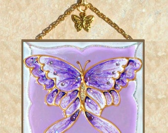 Purple Butterfly Décor, Butterfly Wall Art, Purple Butterfly Art Purple Butterfly Suncatcher Purple Stained Glass Butterfly Wall Décor Panel