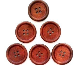 6 x 30MM Plain Brown wooden buttons
