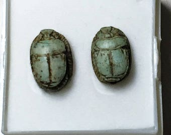 Two Vintage Ancient Egyptian Faience Scarab Amulets, Small Ritual Scarabs, Dahshur - Upper Egypt, 13-14 mm