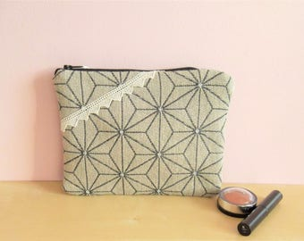 Pouch, makeup or other - linen flowers