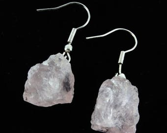 ON SALE Rough Mineral Rose quartz earring
