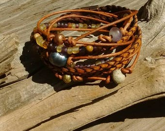 Boho Wrap Bracelet,  Leather Wrap Bracelet,  Leather Wrap,  Beaded Wrap,  Leather Bracelet,  Wrap Leather JEWELRY