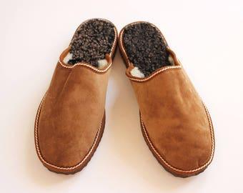 Slippers Men, Felt Slippers, House Slippers Men, Handmade Slippers, Men Leather Slippers, Gift for Dad, Sheepskin Slippers, Fur Slippers
