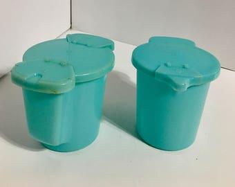 Vintage Aqua Tupperware Cream & Sugar Containers