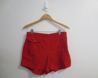 red corduroy hot pants