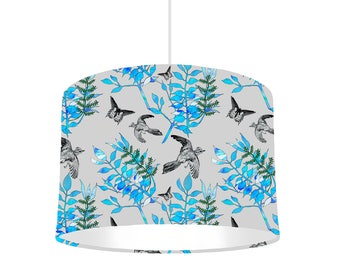 Botanical Bird Drum Lampshade with White Lining