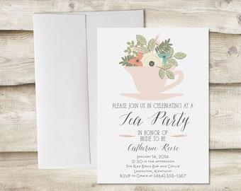 Tea Party Bridal Shower Invitation, Tea Party Baby Shower Invitation, Bridal Shower Tea Party Invitation, Bridal Shower Tea Party Invite