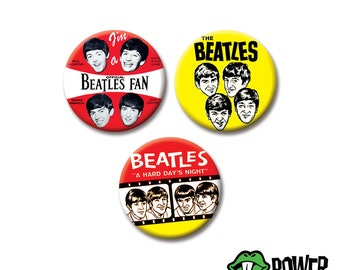 "BEATLE BOYS BUTTONS (2.25"" or 1.25"" pins) [paul mccartney john lennon ringo starr george harrison beatles fan hard days night badge fan club"