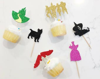 12 Wizard of Oz themed birthday party cupcake toppers; Dorothy themed party