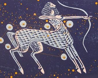 Print of Sagittarius star sign and constellation.