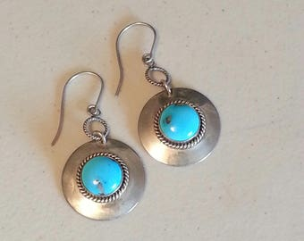 Southwestern Sterling Silver and Turquoise Earrings ~Signed Artie Yellowhorse~~