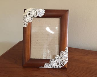 Wood picture frame , 5x7, with lace and embelishments, table top or wall frame