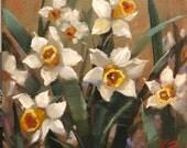 "Old Friends, 10""x10"",oil, original, Krista Eaton, art, pansies, pansy, floral, still life"