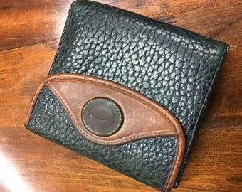 VINTAGE Dooney & Bourke Classic Signature Leather Bifold with Flap Wallet