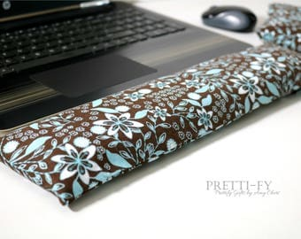 Wrist Rest Set w/ Removable Covers, Washable Wrist Rest, Keyboard Wrist Rest, Mouse Rest, Mouse Wrist Rest, Brown Floral Fabric