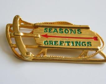 Danecraft Season Greetings Gold Tone Sled Brooch Pin
