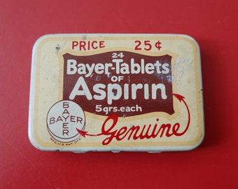 Vintage Bayer Aspirin Genuine Tablets Tin