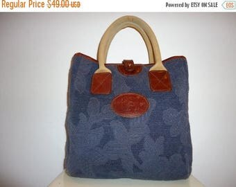 50% OFF Beautiful Vintage Navy Blue Tapestry Tote