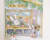 A3 Poster, cute illustrated bunny rabbit flower shop art print, cute, childrens, home decor, illustration