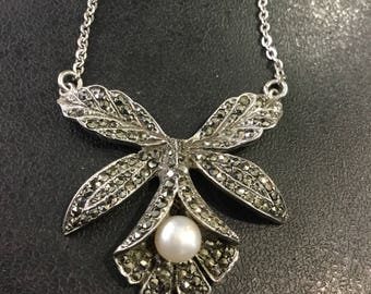 Silver marcasite and pearl necklace