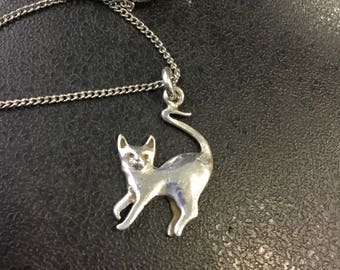 Silver cat pendant on chain